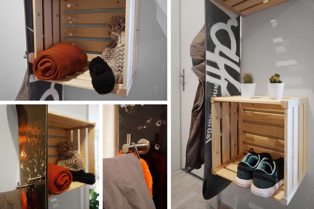 garderobe bauen aus dem alten snowboard jumbo youdoo. Black Bedroom Furniture Sets. Home Design Ideas